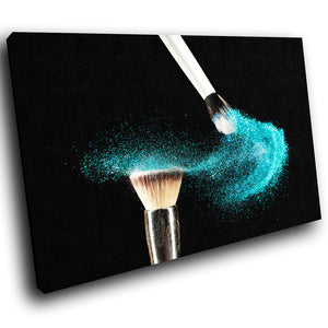 E050 Blue Makeup Brush Fashion Modern Canvas Wall Art Large Picture Prints-Canvas Print-WhatsOnYourWall