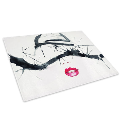 Black White Red Lips Woman Glass Chopping Board Kitchen Worktop Saver Protector - E051-People Chopping Board-WhatsOnYourWall