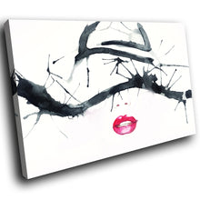 E051 Black White Red Lips Woman Cool Modern Canvas Wall Art Large Picture Prints-Canvas Print-WhatsOnYourWall