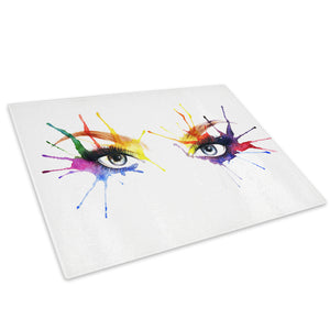 Colourful Woman Eyes Glass Chopping Board Kitchen Worktop Saver Protector - E052-People Chopping Board-WhatsOnYourWall