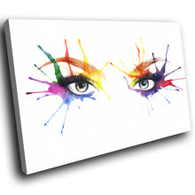 E052 Colourful Woman Eyes Retro Cool Modern Canvas Wall Art Large Picture Prints-Canvas Print-WhatsOnYourWall