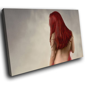 E053 Red Grey Woman Vintage Erotic Modern Canvas Wall Art Large Picture Prints-Canvas Print-WhatsOnYourWall