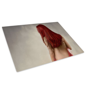 Red Grey Woman Vintage Glass Chopping Board Kitchen Worktop Saver Protector - E053-People Chopping Board-WhatsOnYourWall