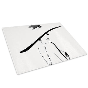 Black White Woman Glass Chopping Board Kitchen Worktop Saver Protector - E054-People Chopping Board-WhatsOnYourWall