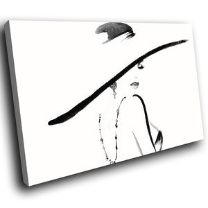 E054 Black White Retro Woman Cool Modern Canvas Wall Art Large Picture Prints-Canvas Print-WhatsOnYourWall
