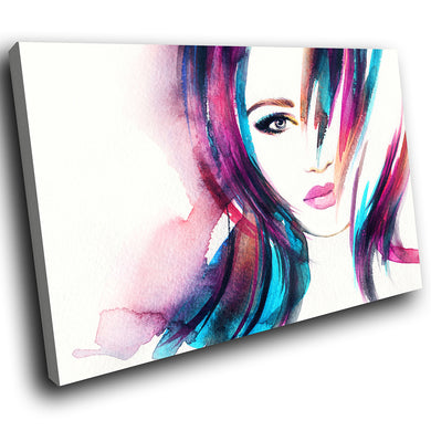 E055 Pink Blue White Retro Woman Modern Canvas Wall Art Large Picture Prints-Canvas Print-WhatsOnYourWall