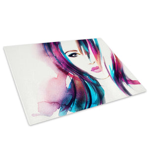 Pink Blue White Woman Glass Chopping Board Kitchen Worktop Saver Protector - E055-People Chopping Board-WhatsOnYourWall