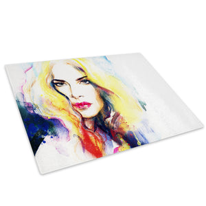 Colourful Woman Funky Glass Chopping Board Kitchen Worktop Saver Protector - E058-People Chopping Board-WhatsOnYourWall
