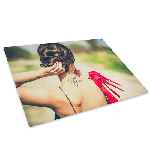 Tattoo Stiletto Woman Funky Glass Chopping Board Kitchen Worktop Saver Protector - E059-People Chopping Board-WhatsOnYourWall
