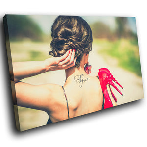 E059 Tattoo Stiletto Woman Cool Funky Modern Canvas Wall Art Large Picture Print-Canvas Print-WhatsOnYourWall