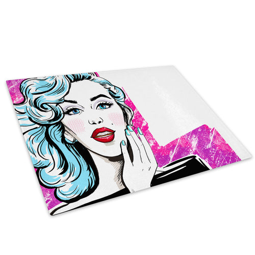 Pink Blue White Red Woman Glass Chopping Board Kitchen Worktop Saver Protector - E060-People Chopping Board-WhatsOnYourWall