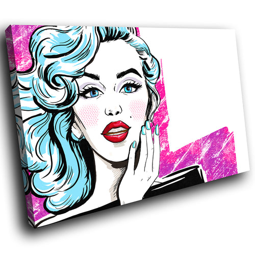 E060 Pink Blue White Red Cartoon Woman Modern Canvas Wall Art Picture Prints-Canvas Print-WhatsOnYourWall