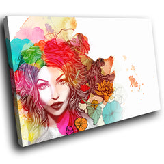E062 Colourful Floral Woman Retro Modern Canvas Wall Art Large Picture Prints-Canvas Print-WhatsOnYourWall