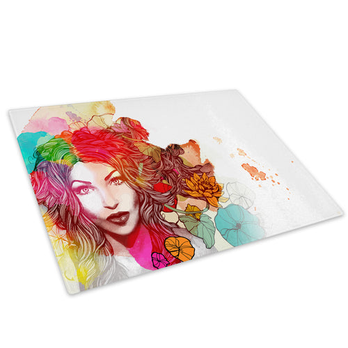 Colourful Floral Woman Glass Chopping Board Kitchen Worktop Saver Protector - E062-People Chopping Board-WhatsOnYourWall