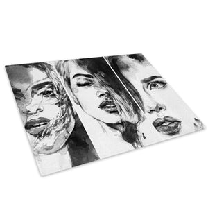 Black White Woman Glass Chopping Board Kitchen Worktop Saver Protector - E063-People Chopping Board-WhatsOnYourWall