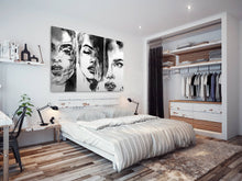 E063 Black White Woman Cool Retro Modern Canvas Wall Art Large Picture Prints-Canvas Print-WhatsOnYourWall