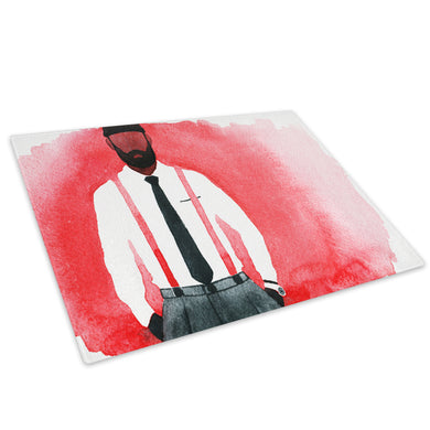 Black White Red Man Glass Chopping Board Kitchen Worktop Saver Protector - E064-People Chopping Board-WhatsOnYourWall