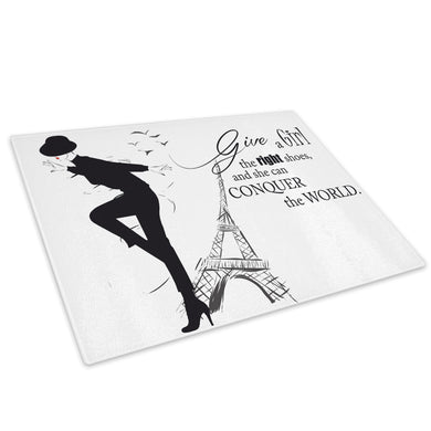 Black White Paris Quote Glass Chopping Board Kitchen Worktop Saver Protector - E065-People Chopping Board-WhatsOnYourWall
