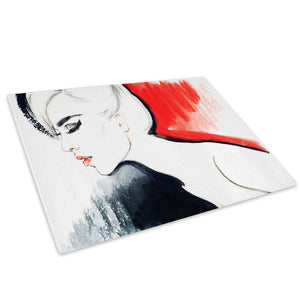Red Black White Woman Glass Chopping Board Kitchen Worktop Saver Protector - E067-People Chopping Board-WhatsOnYourWall