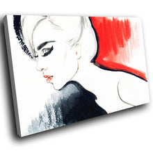 E067 Red Black White Retro Woman Modern Canvas Wall Art Large Picture Prints-Canvas Print-WhatsOnYourWall