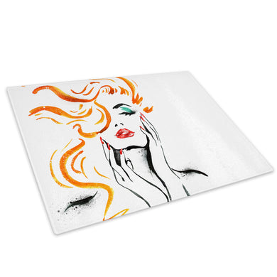 Orange Black White Woman Glass Chopping Board Kitchen Worktop Saver Protector - E068-People Chopping Board-WhatsOnYourWall