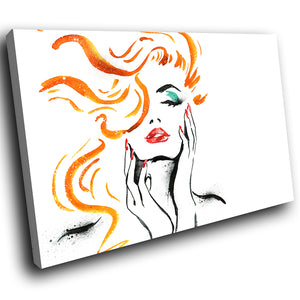 E068 Orange Black White Red Woman Modern Canvas Wall Art Large Picture Prints-Canvas Print-WhatsOnYourWall