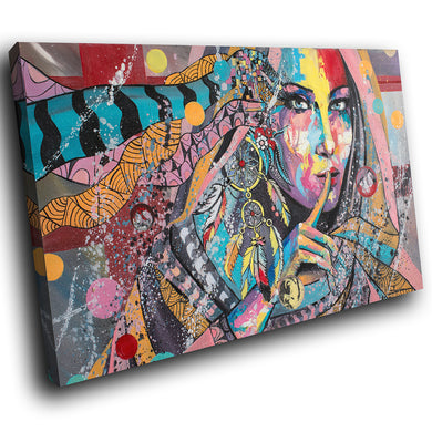 E069 Colourful Retro Woman Funky Modern Canvas Wall Art Large Picture Prints-Canvas Print-WhatsOnYourWall