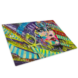 Colourful Woman Egyptian Glass Chopping Board Kitchen Worktop Saver Protector - E070-People Chopping Board-WhatsOnYourWall