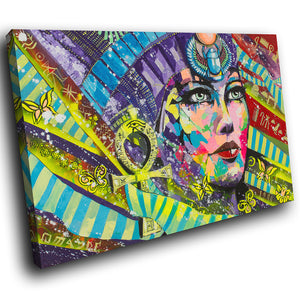 E070 Colourful Retro Woman Egyptian Modern Canvas Wall Art Large Picture Prints-Canvas Print-WhatsOnYourWall