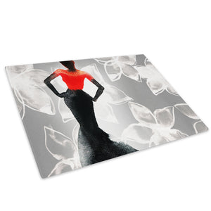 Black White Red Woman Glass Chopping Board Kitchen Worktop Saver Protector - E071-People Chopping Board-WhatsOnYourWall