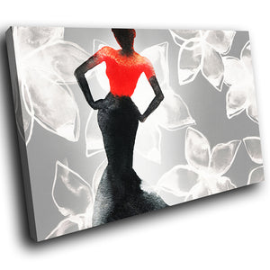 E071 Black White Red Woman Floral Modern Canvas Wall Art Large Picture Prints-Canvas Print-WhatsOnYourWall