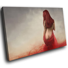 E074 Vintage Red Grey Retro Woman Modern Canvas Wall Art Large Picture Prints-Canvas Print-WhatsOnYourWall