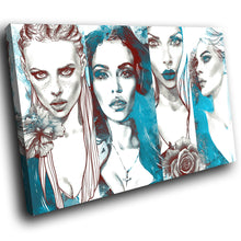 E075 Blue Black White Women Retro Modern Canvas Wall Art Large Picture Prints-Canvas Print-WhatsOnYourWall