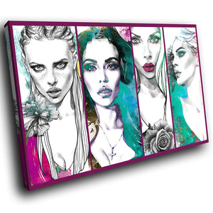 E076 Blue Pink White Women Retro Modern Canvas Wall Art Large Picture Prints-Canvas Print-WhatsOnYourWall