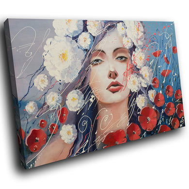 E078 Red White Blue Floral Woman Modern Canvas Wall Art Large Picture Prints-Canvas Print-WhatsOnYourWall