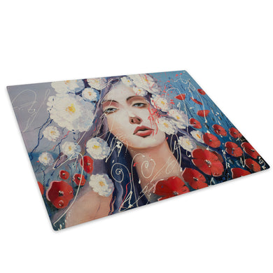 Red White Blue Floral Woman Glass Chopping Board Kitchen Worktop Saver Protector - E078-People Chopping Board-WhatsOnYourWall