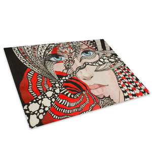 Red Black White Woman Glass Chopping Board Kitchen Worktop Saver Protector - E079-People Chopping Board-WhatsOnYourWall