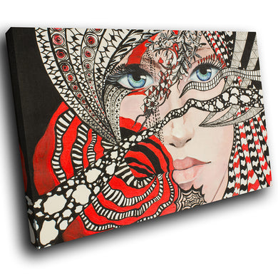 E079 Red Black White Abstract Woman Modern Canvas Wall Art Large Picture Prints-Canvas Print-WhatsOnYourWall