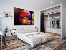 E080 Colourful Woman Lips Kiss Cool Modern Canvas Wall Art Large Picture Prints-Canvas Print-WhatsOnYourWall