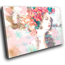 E082 Colourful Retro Woman Floral Modern Canvas Wall Art Large Picture Prints-Canvas Print-WhatsOnYourWall