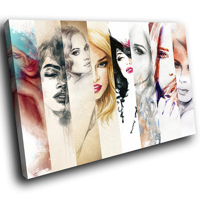 E083 Colourful Retro Women Drawing Modern Canvas Wall Art Large Picture Prints-Canvas Print-WhatsOnYourWall