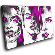 E084 Pink Black White Women Faces Modern Canvas Wall Art Large Picture Prints-Canvas Print-WhatsOnYourWall