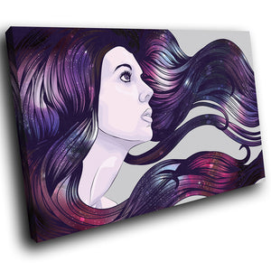 E085 Pink Purple Grey Woman Cool Modern Canvas Wall Art Large Picture Prints-Canvas Print-WhatsOnYourWall