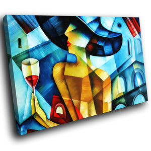 E086 Colourful Abstract Woman Retro Modern Canvas Wall Art Large Picture Prints-Canvas Print-WhatsOnYourWall