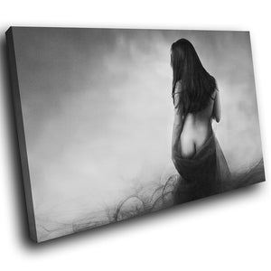E087 Black White Nude Erotic Woman Modern Canvas Wall Art Large Picture Prints-Canvas Print-WhatsOnYourWall