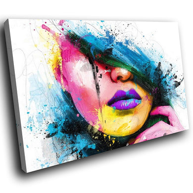 E088 Pink Blue Yellow Woman Face Cool Modern Canvas Wall Art Large Picture Print-Canvas Print-WhatsOnYourWall