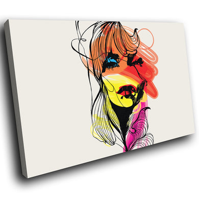 E089 Orange Yellow Red Pink Woman Modern Canvas Wall Art Large Picture Prints-Canvas Print-WhatsOnYourWall