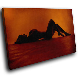 E090 Orange Red Black Woman Erotic Modern Canvas Wall Art Large Picture Prints-Canvas Print-WhatsOnYourWall