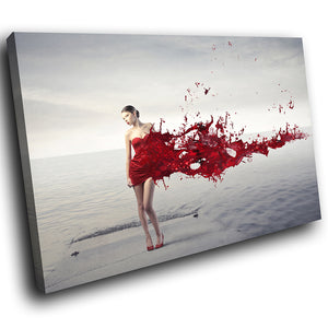 E091 Red Grey Abstract Woman Cool Modern Canvas Wall Art Large Picture Prints-Canvas Print-WhatsOnYourWall