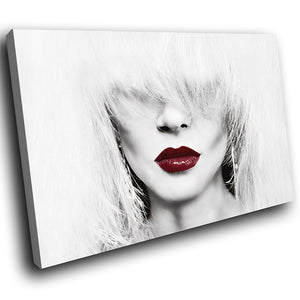 E094 Black White Red Woman Retro Modern Canvas Wall Art Large Picture Prints-Canvas Print-WhatsOnYourWall